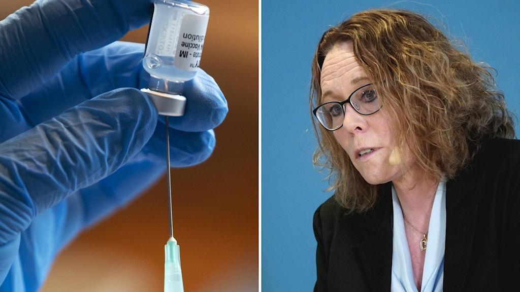 Vaccinspruta och kvinna vid podium.