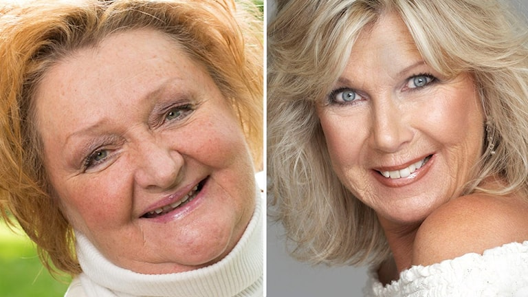 Två bilder. Två porträtt på två blonda kvinnor.