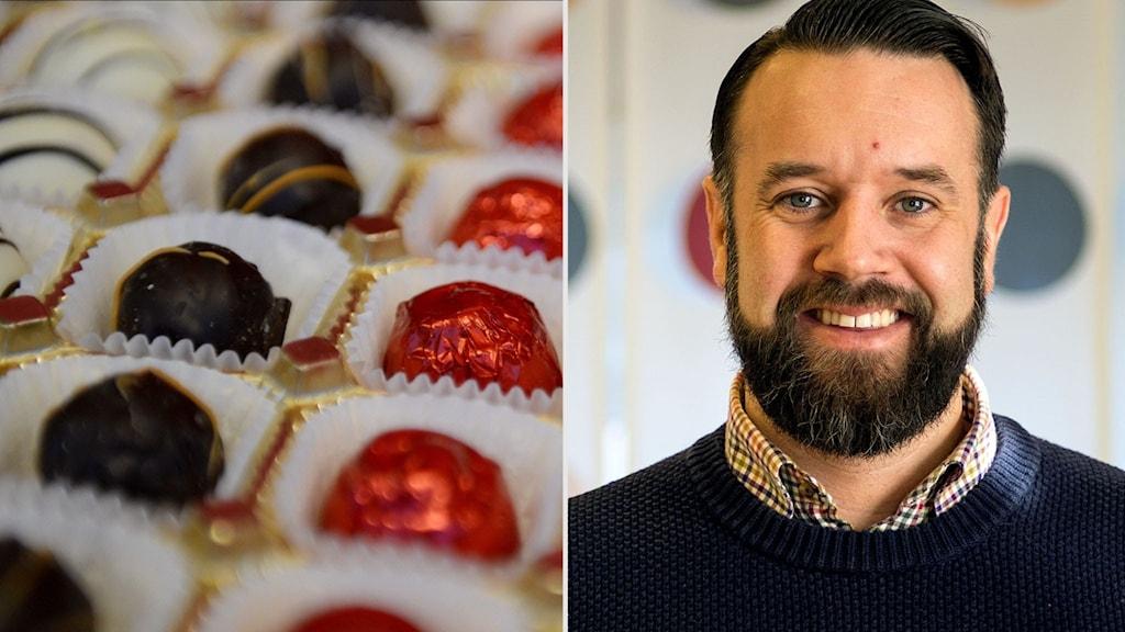 Bilden är ett montage. Till vänster en bild på praliner i närbild, till höger en bild på en glad man.