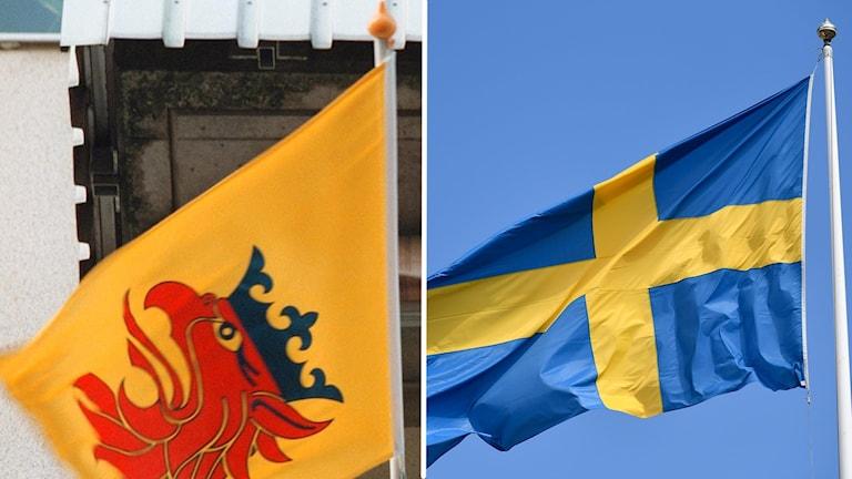Två flaggor på två bilder. Den vänstra är den skånska landskapsflaggan med den röda gripen och den andra bilden är den svenska flaggan.