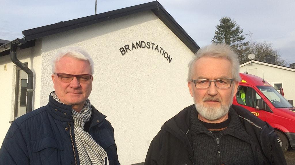 Mats Svensson, räddningschef och Knut Engström, styrkeledare.