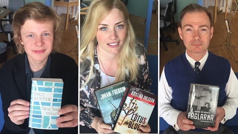Tre bilder på två män och en kvinna som håller upp varsin bok.