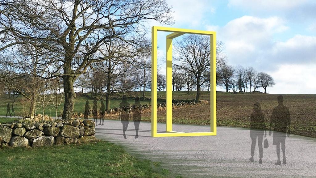 En bild på en stor gul dörrkarm i miljö.