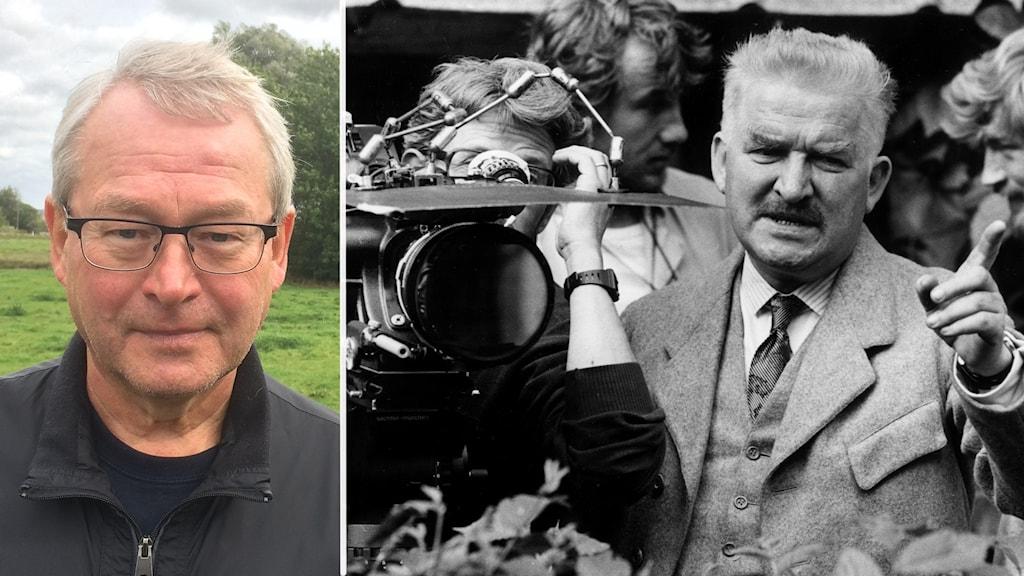 Två bilder. En färgbild på en man med glasögon och en svartvit bild på regissör intill en kamera.
