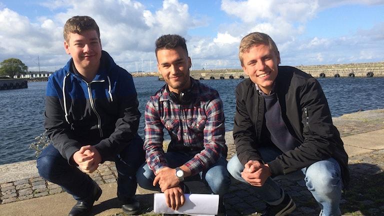 Jakob Elgen, Massoud Hussein och Emil Larsson.
