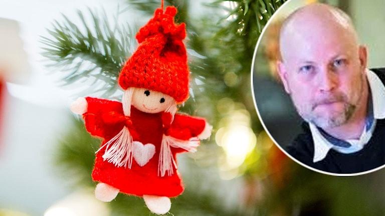 Tomteprydnad i julgran och en infälld bild på man.