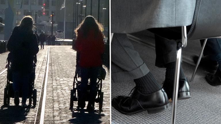 Två kvinnor med barnvagn. Mansfötter under en stol.