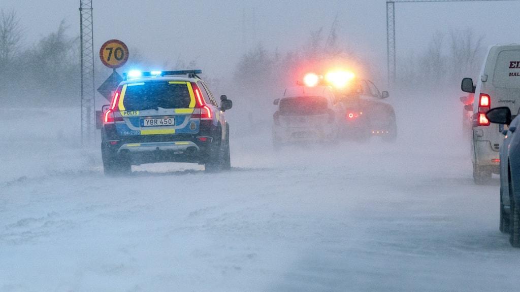 Snöig motorväg