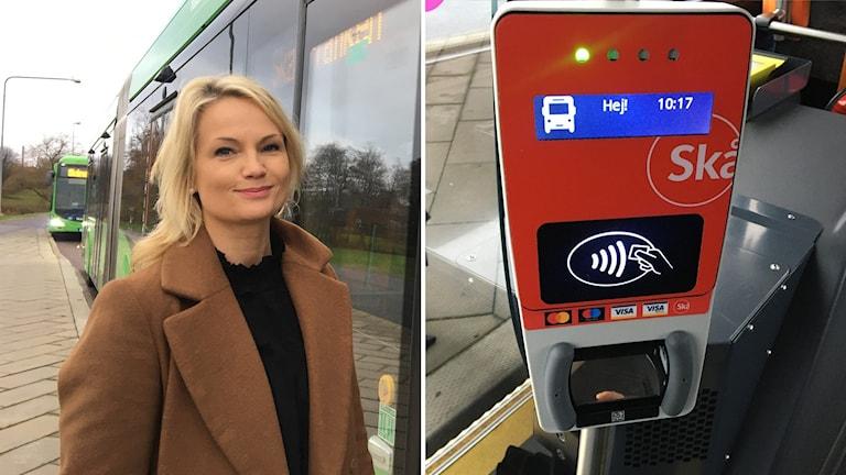 Marielle Hallenhed, projektledare Skånetrafiken för blipplösningen. Stämpelautomat Skånetrafiken