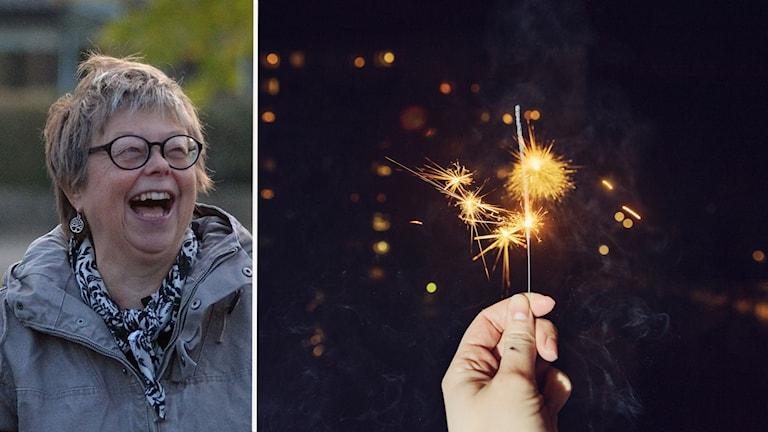 Kvinna som skrattar och en bild på en hand som håller ett tomtebloss.