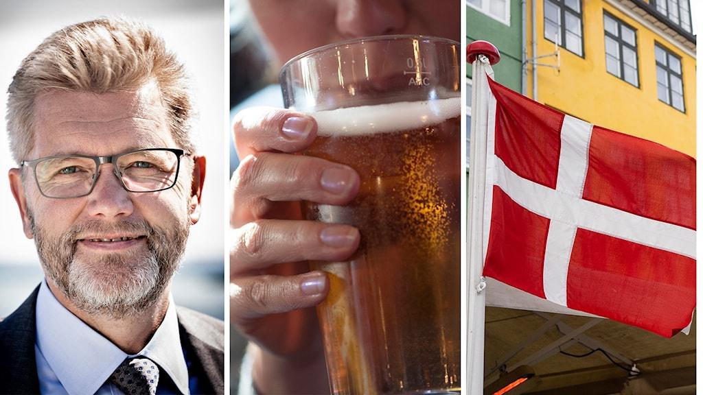 person, öl, flagga