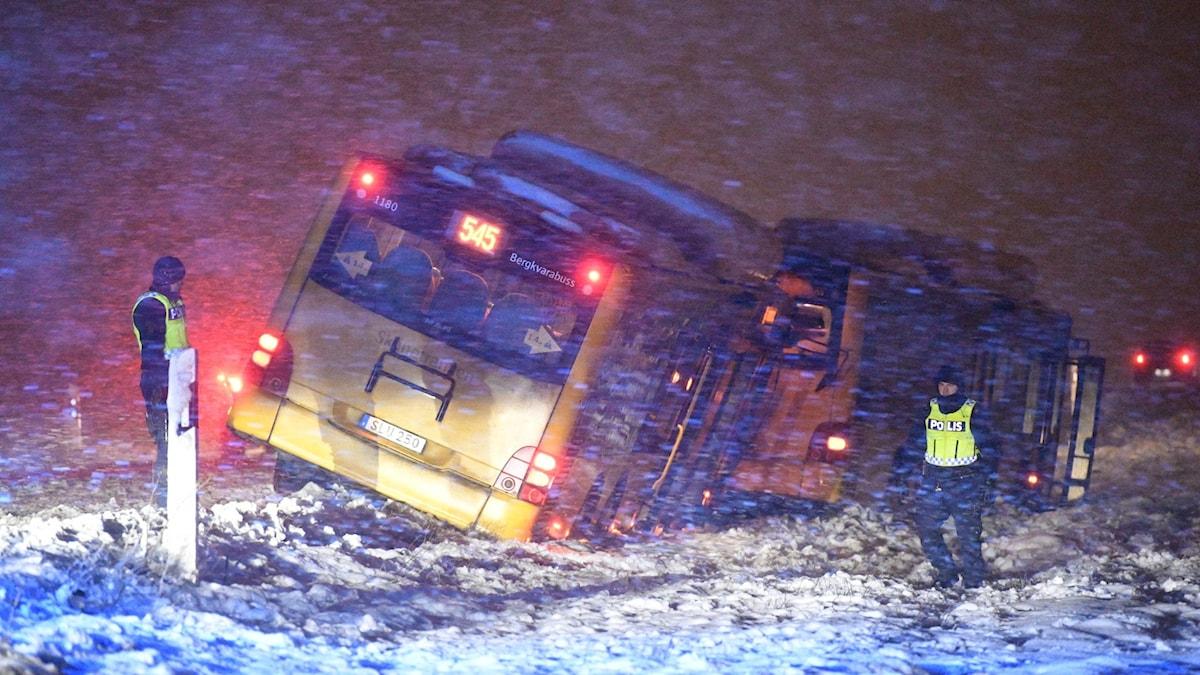Bussolycka, snö