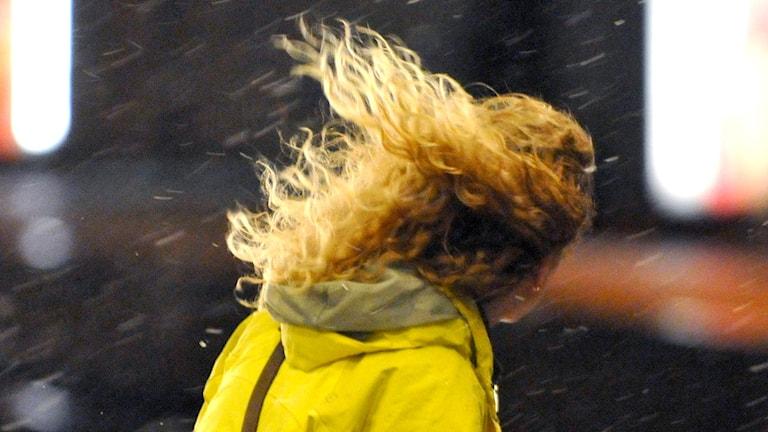 Kvinna med långt blont hår som blåser i blötsnö.