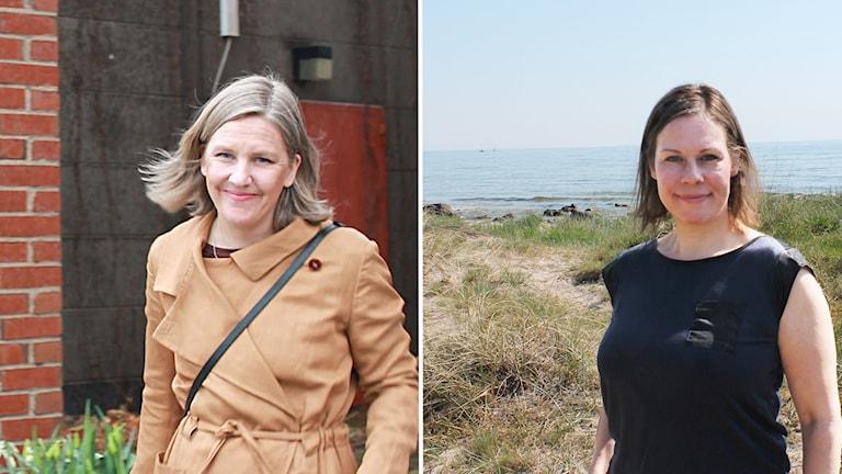 Två kvinnor på två bilder