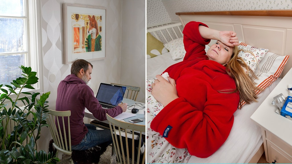 montage med man som jobbar hemma och sjuk kvinna i säng