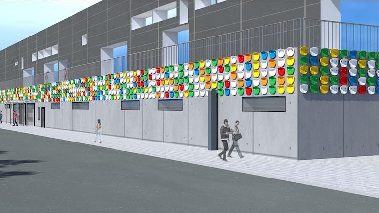 """Ett offentligt konstverk till den nya läktarbyggnaden på Kristianstads arenaområde. Skapat av den internationellt erkända konstnärsgruppen, Inges Idee, från Berlin med verket """"Look at You""""."""