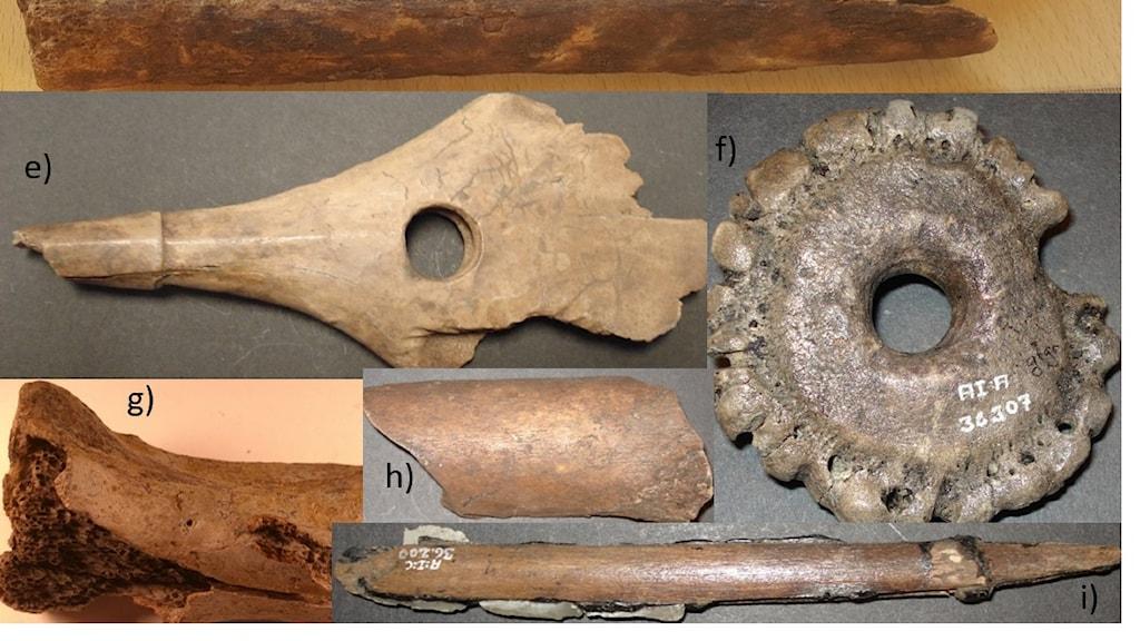 Fem olika benföremål, snidade i olika former.