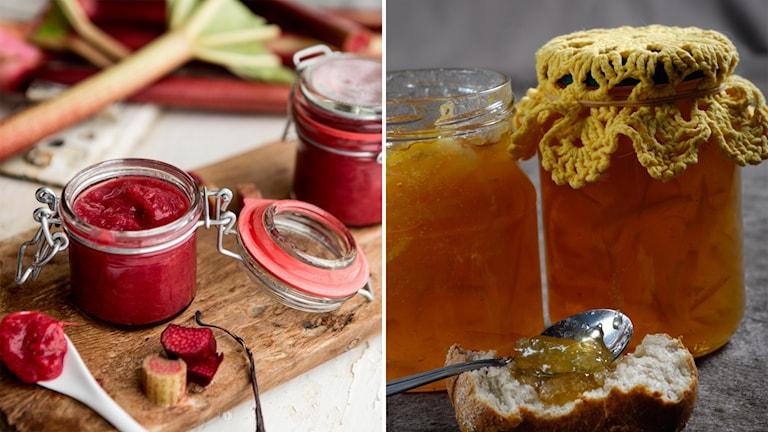 Två bilder med glasburkar fyllda med sylt och marmelad
