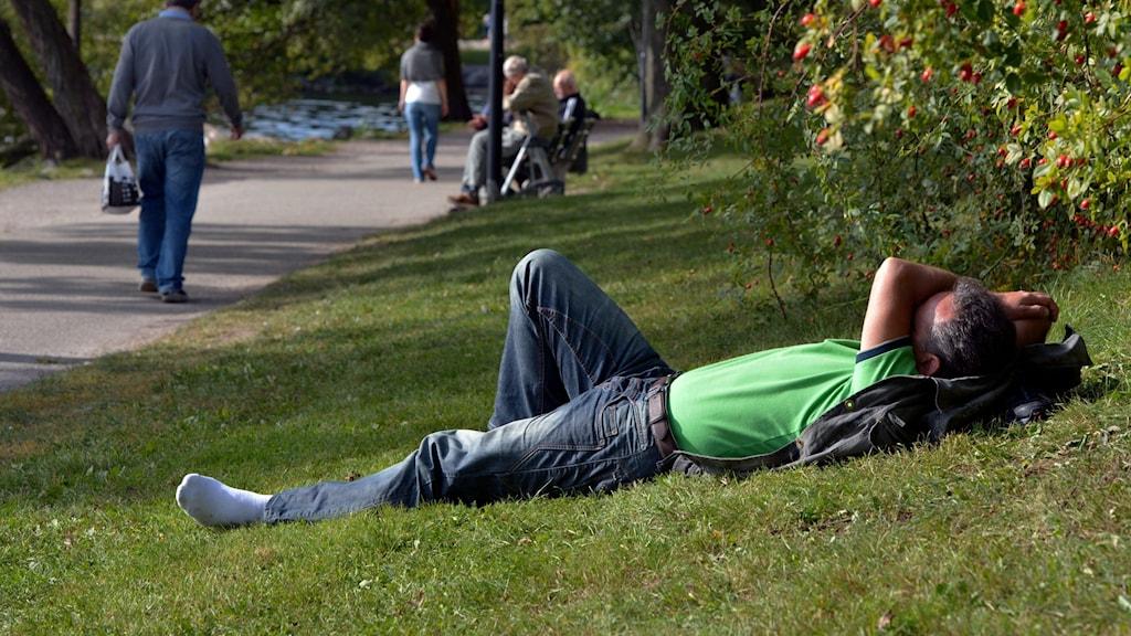 Man som ligger på gräset i en park