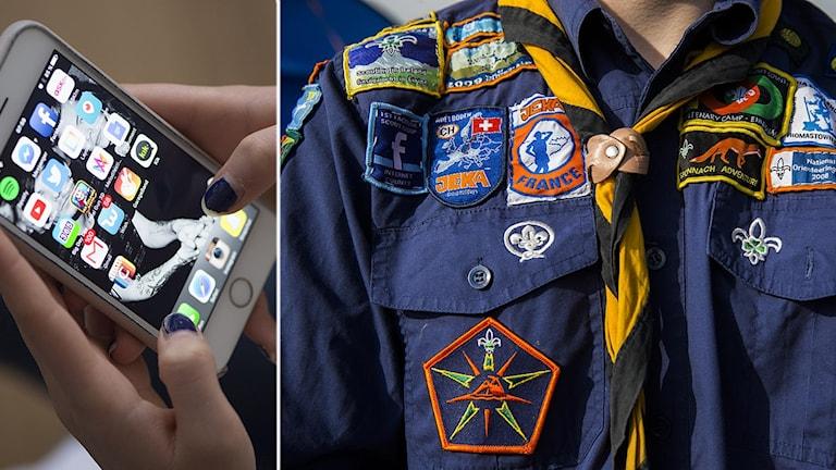 Två bilder - en på händer som håller i en mobiltelefon med många appar uppe, en på en skjorta med scoutmärken