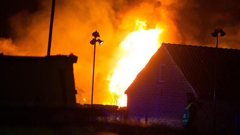 Lågor från branden i Simrishamn.