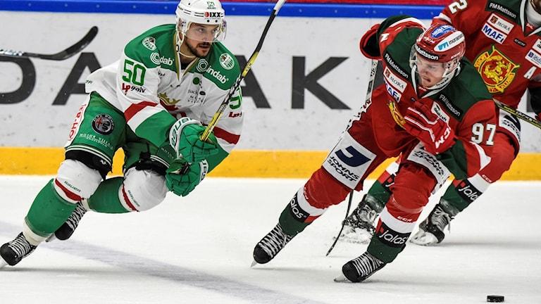 Juhamatti Aaltonen och Rögle jagar viktiga poäng mot Mora. Foto: Ulf Palm/TT.