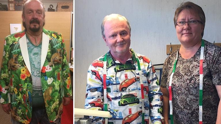 Två bilder. Ena bilden en man i djungelmönstrad kavaj och en annan bild på ett part med måttband runt halsen.