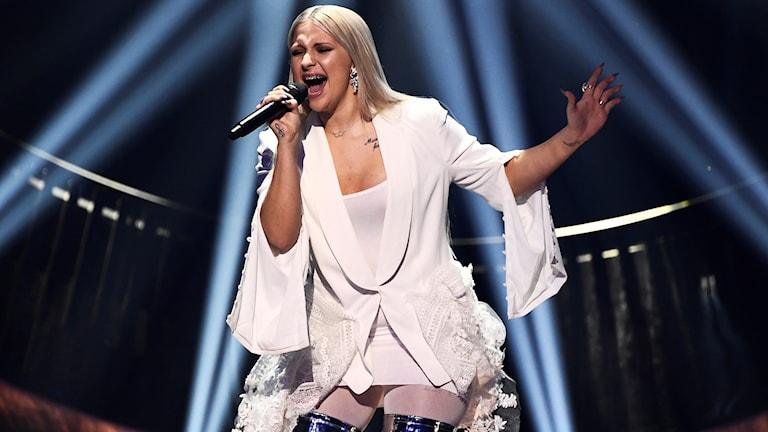 Rebecka Karlsson, sångerska från Helsingborg som tävlar i Melodifestivalen med låten Who I am. Foto: Claudio Bresciani/TT.