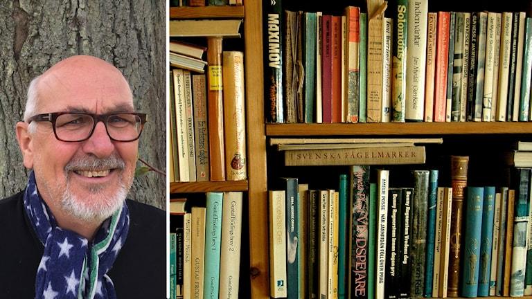 Ett porträtt på man med glasögon och skägg på en bild av en bokhylla.