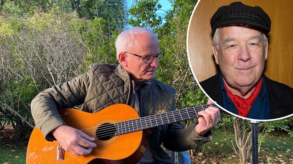 Bildmontage - gitarrist och en infälld bild på man med keps.