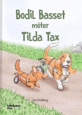 Tecknat bokomslag med en tax och en basset som båda saknar bakben som ersatts av hjul. De springer på en grusväg fram.