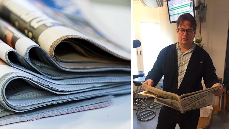 Tidningar och man