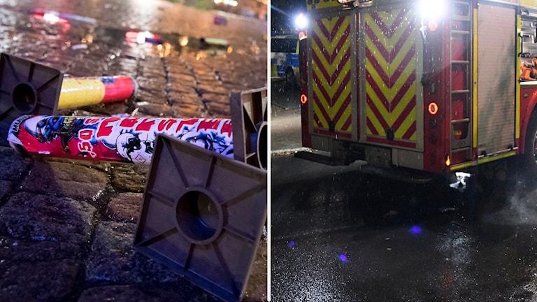 Fyrverkeripjäs och en räddningsbil