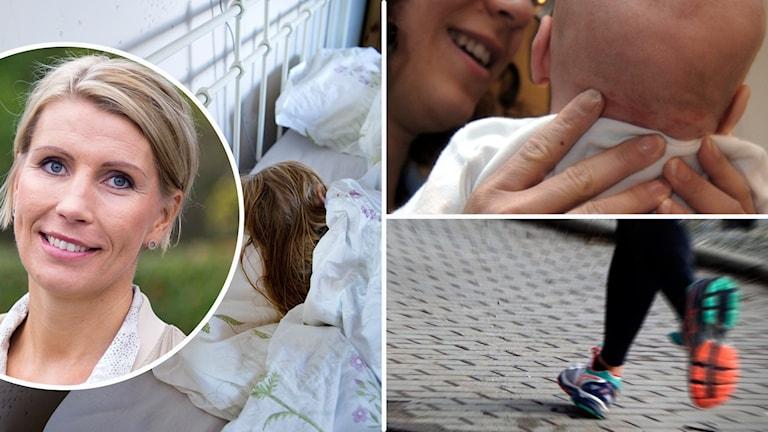 Bilder om hälsa: mamma med bebis, löparben, sovande kvinna i säng och en rund bild på blond kvinna.