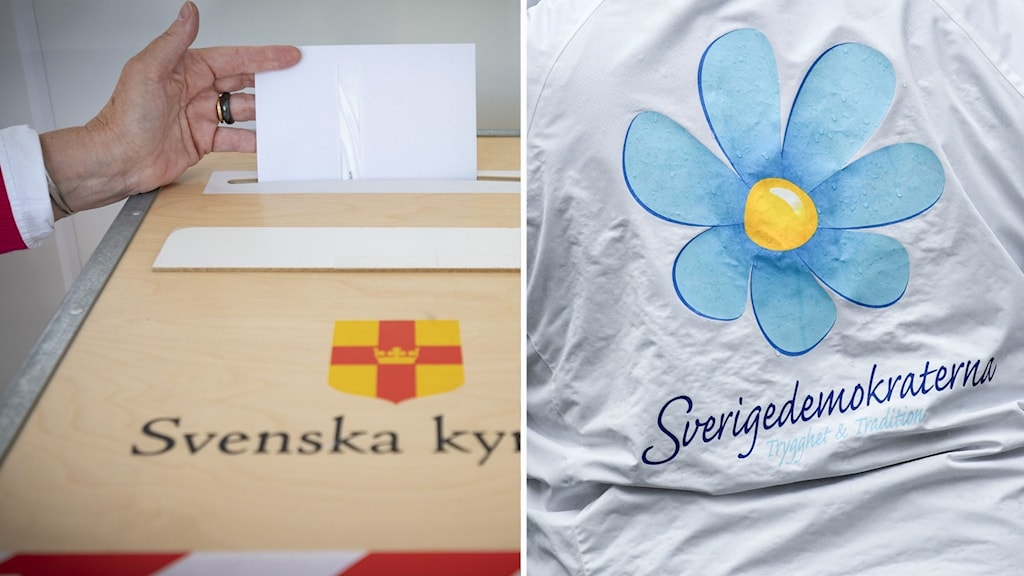 """Bilden är ett montage. Till vänster en bild på en hand som lägger ner i lapp i en valurna där det står """"Svenska Kyrkan"""", till höger en bild på en jacka där det står """"Sverigesdemokraterna""""."""