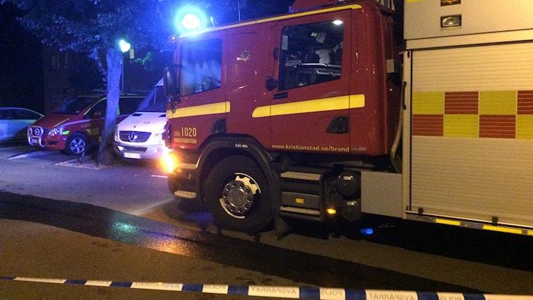 I natt brann det på Östra Boulevarden i Kristianstad.