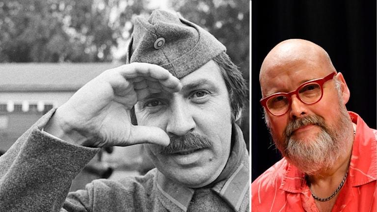 Två bilder. En svartvit och en färg. På två olika män.