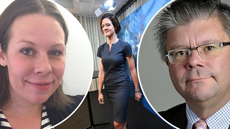 Två runda bilder på en kvinna och en man. Bilderna ligger på en annan bild med en kvinna i halvfigur.