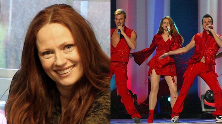 Två bilder. Den ena med leende kvinna med långt brunt hår. Den andra bilden på tre sångare på rad i röda scenkläder, två män och en kvinna.