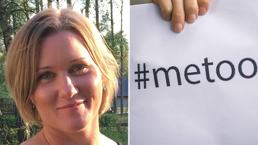 Två bilder, kvinnoporträtt och lapp med text