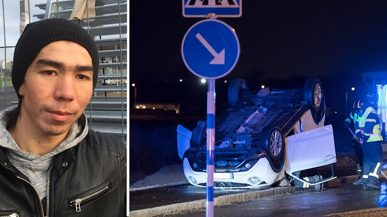 Ung man med mössa och en bild på en voltad vit bil.
