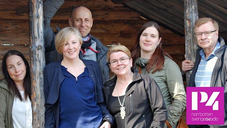 Meänraatio-redaktionen: Pia Lakkapää, Ida Brännström, Bertil Isaksson, Lisa Wanhainen, Eva Kvist och Stig Karlström. Foto: Sveriges Radio.