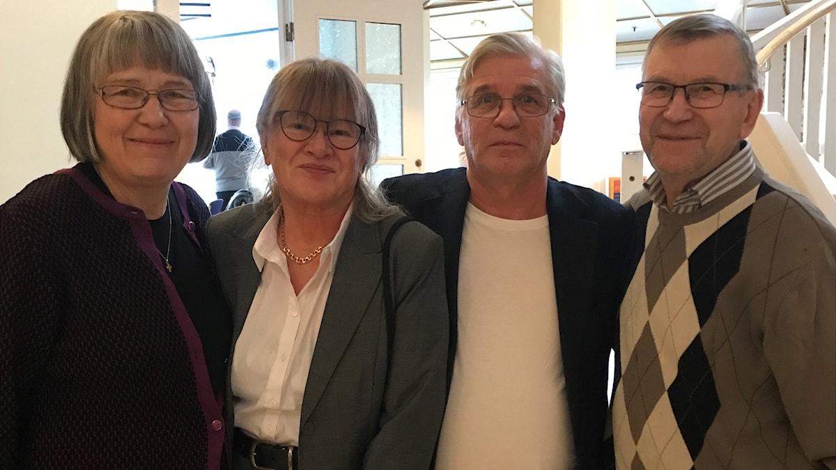 Stipendiaterna Tyra Helena Lindström, Kirsi Johansson, Bengt Kostenius och Ove Kohkoinen.