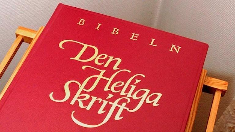Punakantinen ruotsinkielinen Raamattu. Foto: Tomas Oneborg/TT