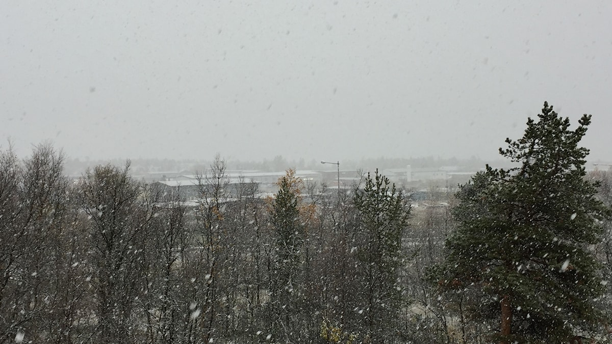 Snöar i Kiruna