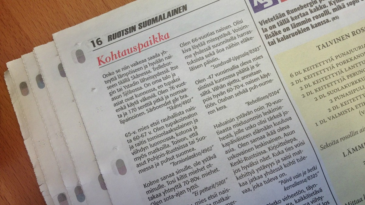 Ruotsin Suomalainen -lehden kontaktipalstan kuva Foto: Sanna-Leena Rinne / Sveriges Radio Sisuradio