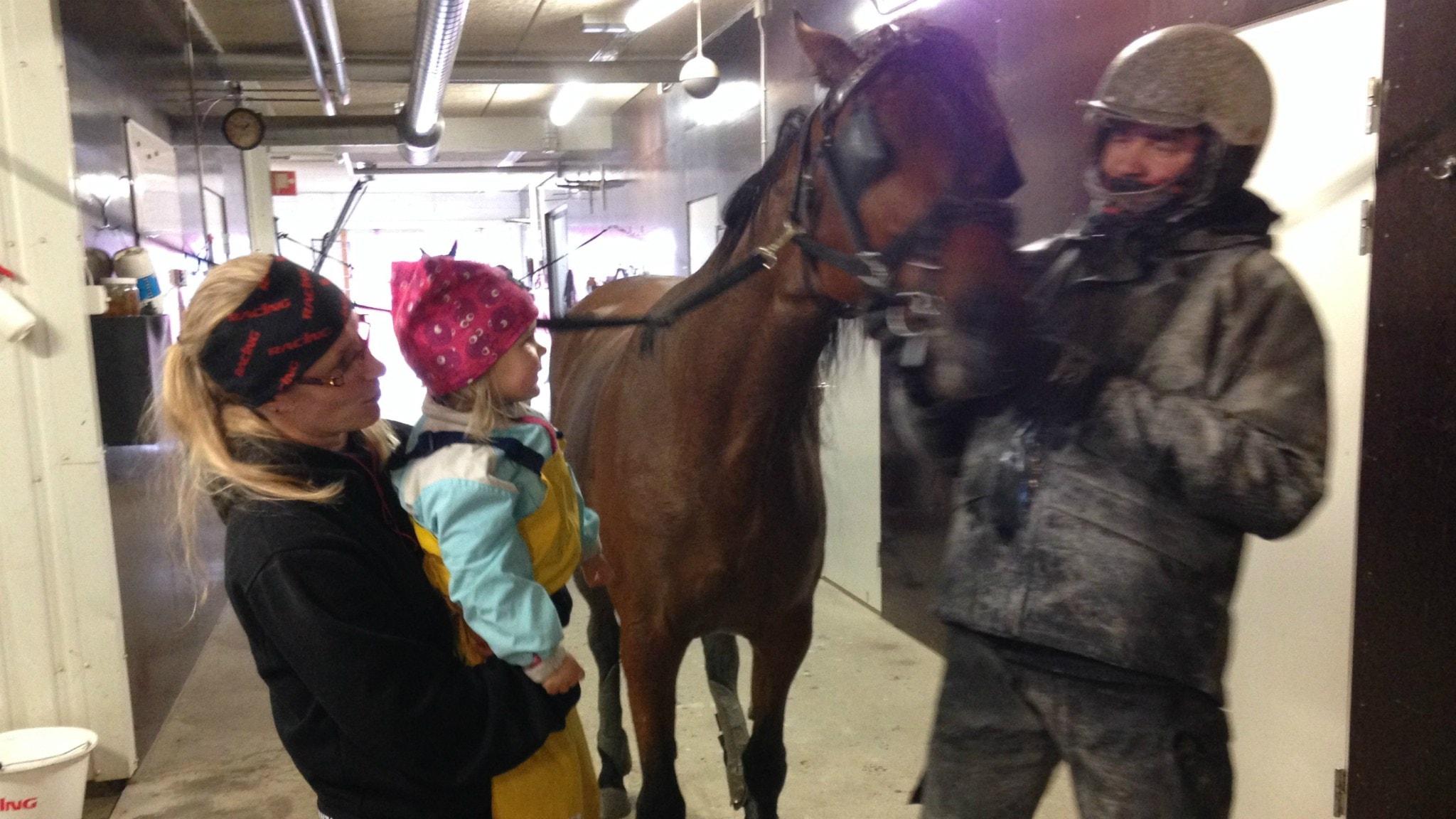 Marianne Haapakankaalla on sylissä Vilja tytär, isä Mika pitää kiinni hevosta. Äidillä sisävaatteet, Viljalla keltaiset kurahousut turkoositakki ja punainen pipo. Isällä kurainen ajoasu ja kypärä päässä.