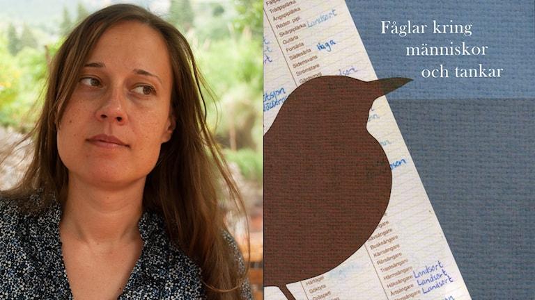 Collage av porträttbild på kvinna och omslaget på hennes diktsamling