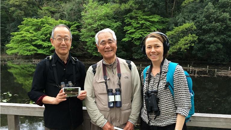 Baba Hiroshi och Ueno Naohiro är aktiva fågelskådare. Här tillsammans med Naturmorgons Jenny Berntson Djurvall.