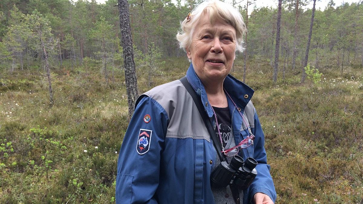 Berit Berglund från Gävleborgs Botaniska Sällskap (på en myr) guidar bland vilda blommor på lördag.